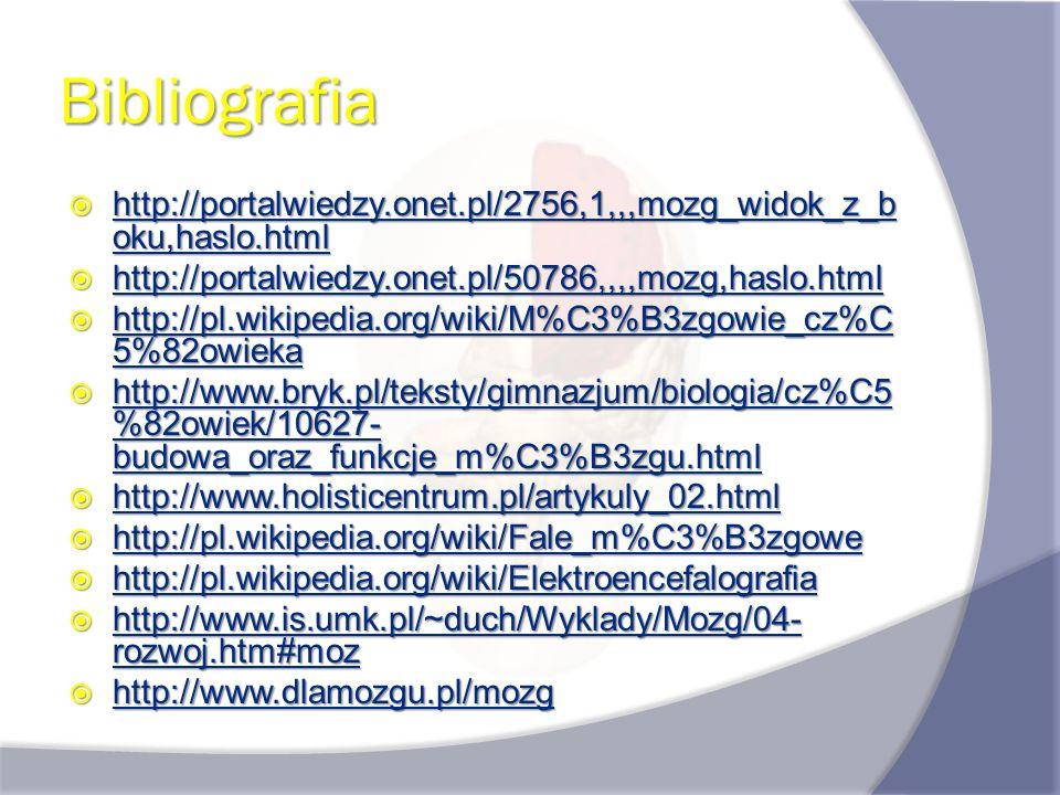 Bibliografia http://portalwiedzy.onet.pl/2756,1,,,mozg_widok_z_b oku,haslo.html http://portalwiedzy.onet.pl/2756,1,,,mozg_widok_z_b oku,haslo.html htt
