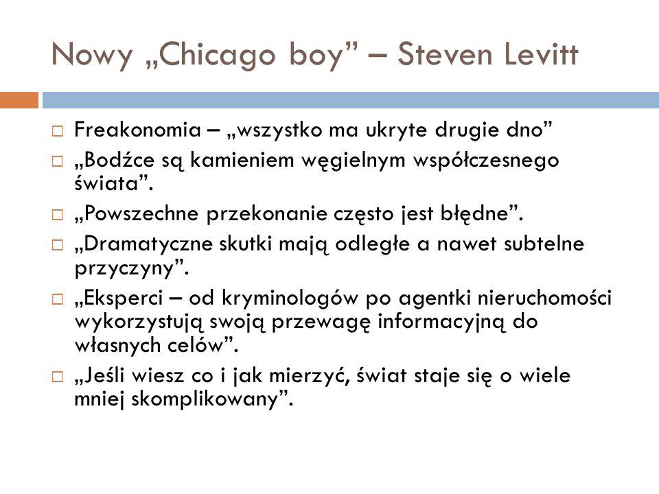Nowy Chicago boy – Steven Levitt Freakonomia – wszystko ma ukryte drugie dno Bodźce są kamieniem węgielnym współczesnego świata. Powszechne przekonani