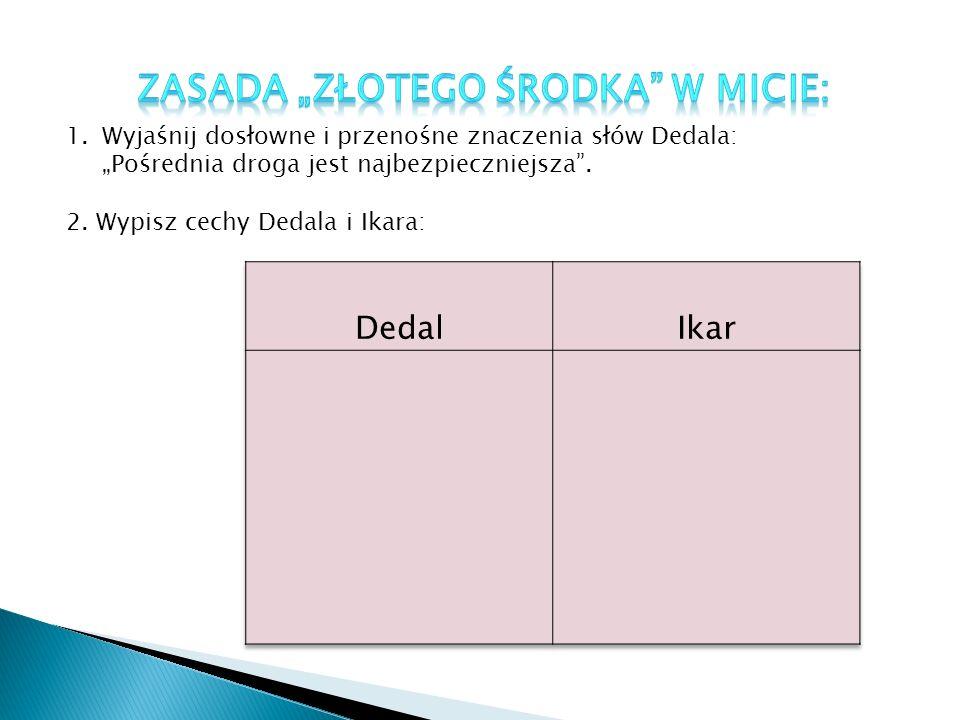 1.Wyjaśnij dosłowne i przenośne znaczenia słów Dedala: Pośrednia droga jest najbezpieczniejsza.