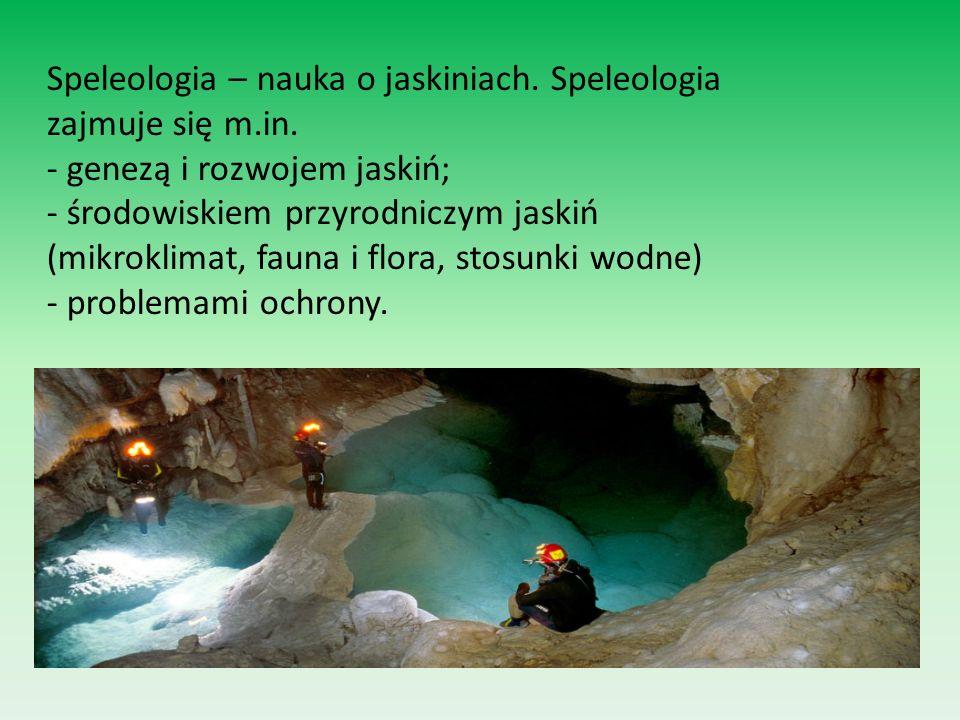 Speleologia – nauka o jaskiniach. Speleologia zajmuje się m.in. - genezą i rozwojem jaskiń; - środowiskiem przyrodniczym jaskiń (mikroklimat, fauna i
