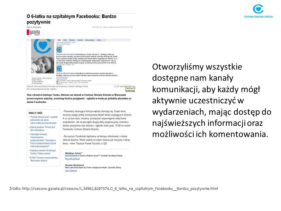 Źródło: http://rzeszow.gazeta.pl/rzeszow/1,34962,8267374,O_6_latku_na_szpitalnym_Facebooku__Bardzo_pozytywnie.html Otworzyliśmy wszystkie dostępne nam kanały komunikacji, aby każdy mógł aktywnie uczestniczyć w wydarzeniach, mając dostęp do najświeższych informacji oraz możliwości ich komentowania.