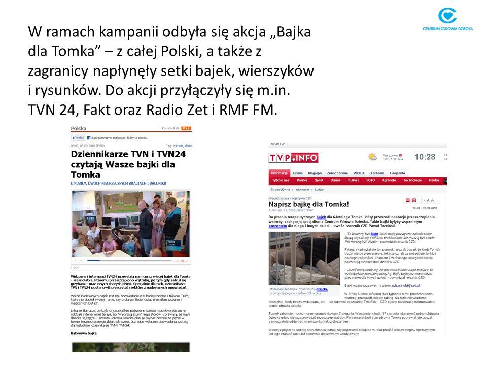 W ramach kampanii odbyła się akcja Bajka dla Tomka – z całej Polski, a także z zagranicy napłynęły setki bajek, wierszyków i rysunków.
