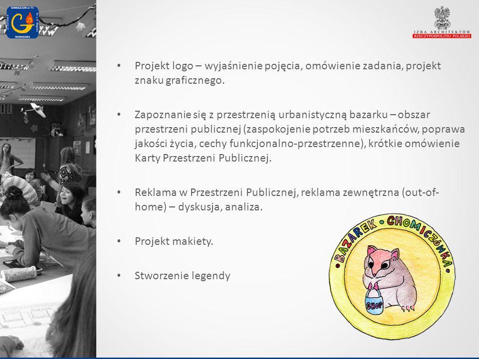 Projekt logo – wyjaśnienie pojęcia, omówienie zadania, projekt znaku graficznego. Zapoznanie się z przestrzenią urbanistyczną bazarku – obszar przestr