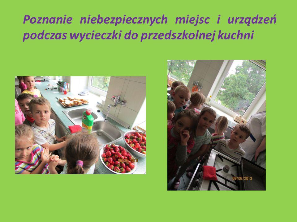 Poznanie niebezpiecznych miejsc i urządzeń podczas wycieczki do przedszkolnej kuchni