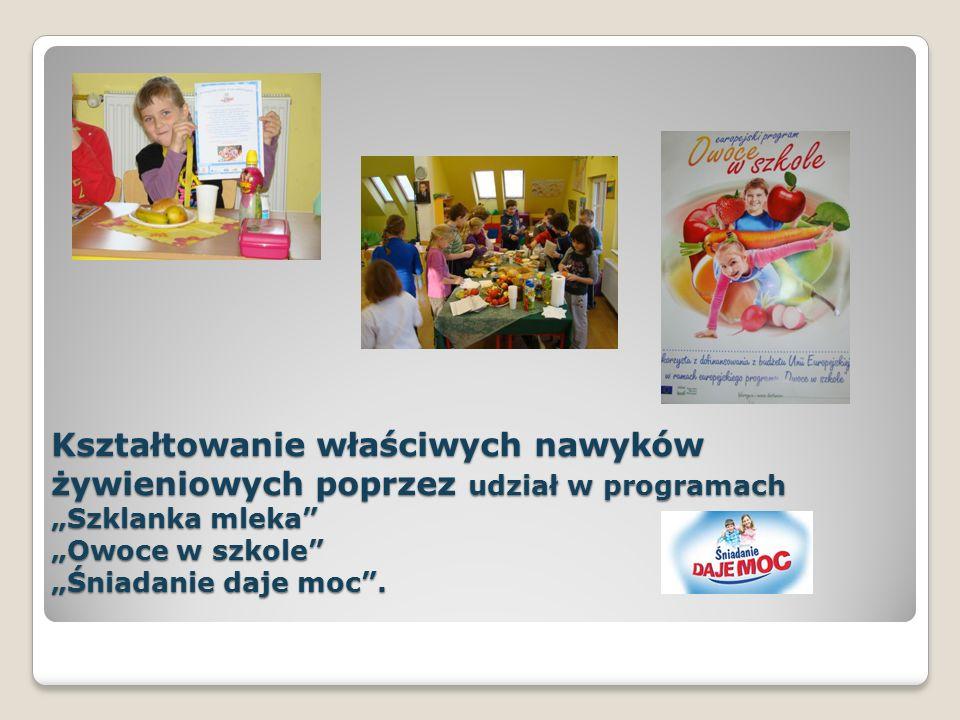 Kształtowanie właściwych nawyków żywieniowych poprzez udział w programach Szklanka mleka Owoce w szkole Śniadanie daje moc.