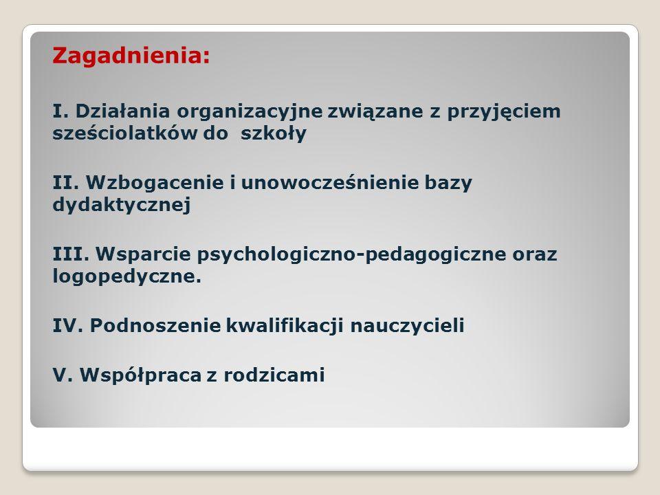 Zagadnienia: I. Działania organizacyjne związane z przyjęciem sześciolatków do szkoły II.