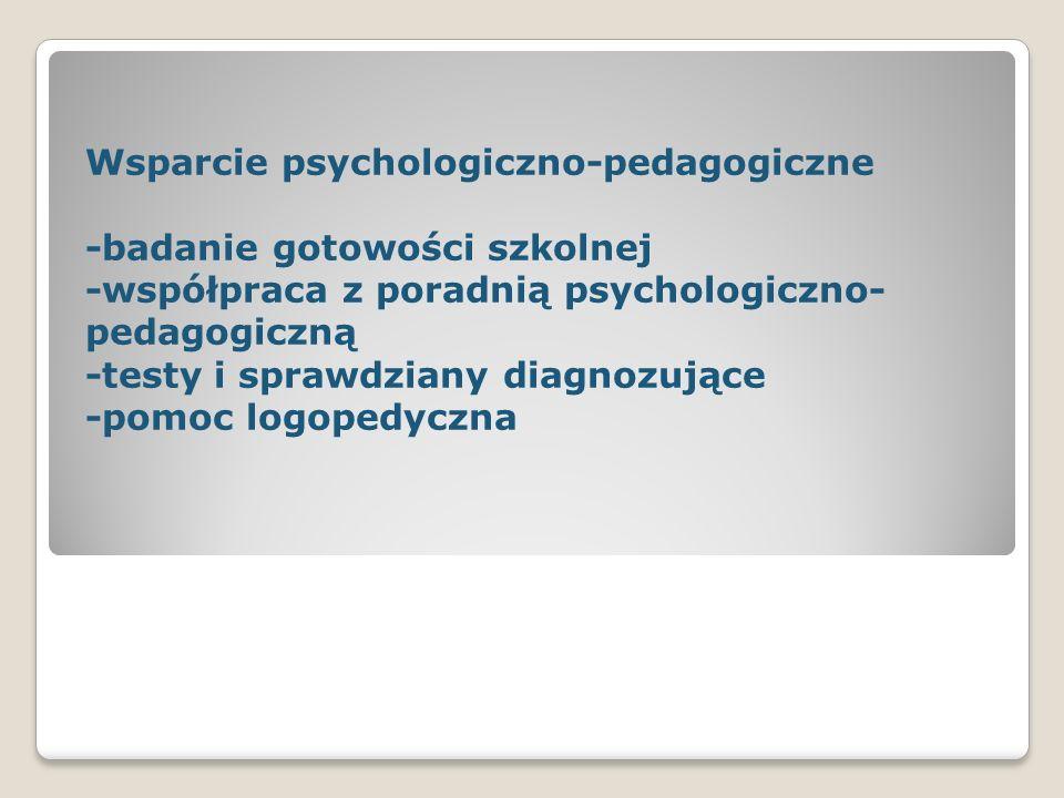 Wsparcie psychologiczno-pedagogiczne -badanie gotowości szkolnej -współpraca z poradnią psychologiczno- pedagogiczną -testy i sprawdziany diagnozujące -pomoc logopedyczna