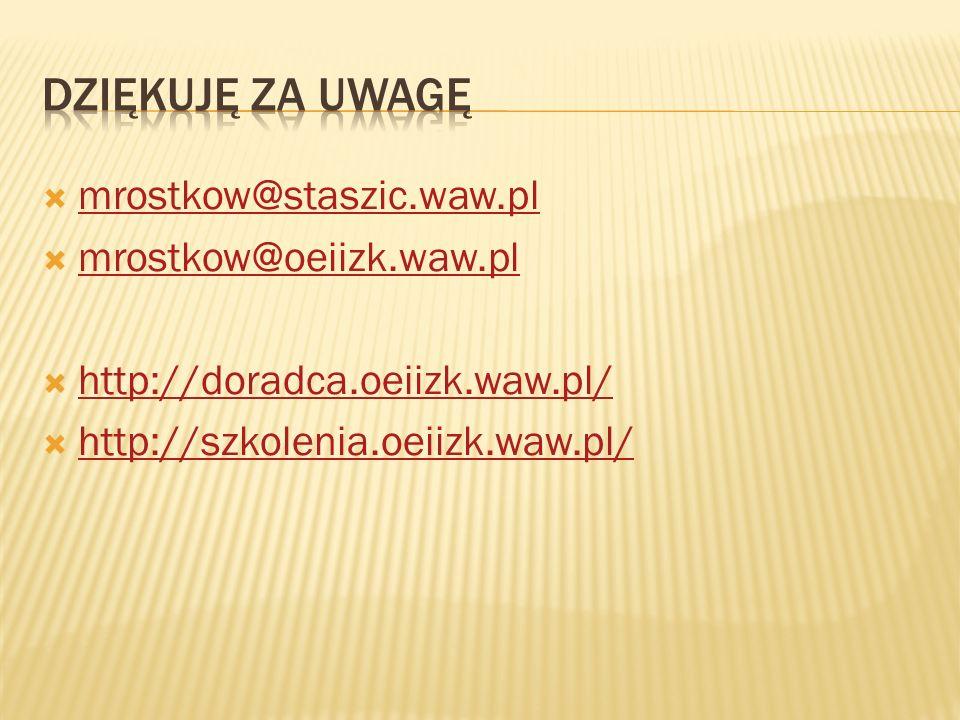mrostkow@staszic.waw.pl mrostkow@oeiizk.waw.pl http://doradca.oeiizk.waw.pl/ http://szkolenia.oeiizk.waw.pl/