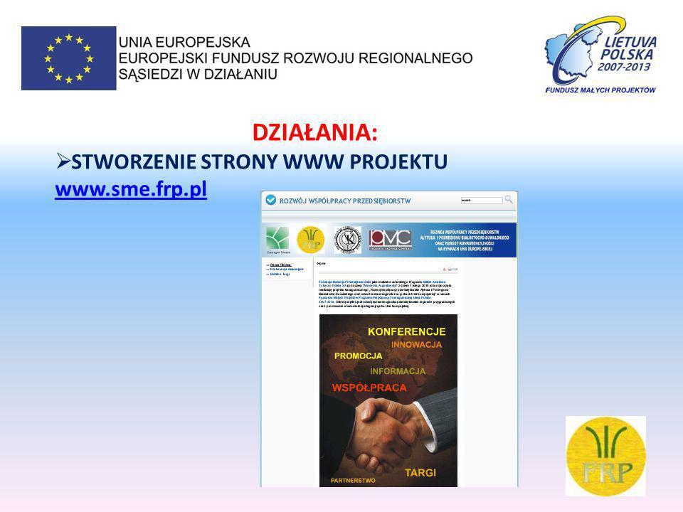 DZIAŁANIA: STWORZENIE BAZY PRZEDSIĘBIORCÓW www.smenetwork.eu