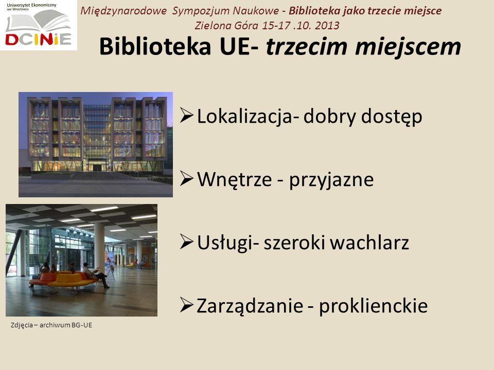 Biblioteka UE- trzecim miejscem Lokalizacja- dobry dostęp Wnętrze - przyjazne Usługi- szeroki wachlarz Zarządzanie - proklienckie Międzynarodowe Sympozjum Naukowe - Biblioteka jako trzecie miejsce Zielona Góra 15-17.10.