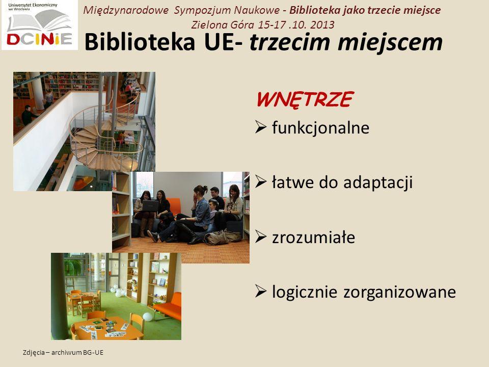 Biblioteka UE- trzecim miejscem WNĘTRZE funkcjonalne łatwe do adaptacji zrozumiałe logicznie zorganizowane Zdjęcia – archiwum BG-UE Międzynarodowe Sympozjum Naukowe - Biblioteka jako trzecie miejsce Zielona Góra 15-17.10.