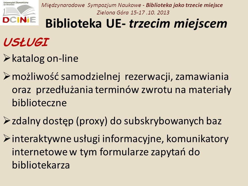 Biblioteka UE- trzecim miejscem USŁUGI katalog on-line możliwość samodzielnej rezerwacji, zamawiania oraz przedłużania terminów zwrotu na materiały biblioteczne zdalny dostęp (proxy) do subskrybowanych baz interaktywne usługi informacyjne, komunikatory internetowe w tym formularze zapytań do bibliotekarza Międzynarodowe Sympozjum Naukowe - Biblioteka jako trzecie miejsce Zielona Góra 15-17.10.