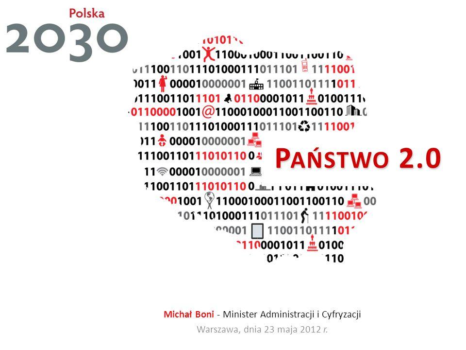 P AŃSTWO 2.0 Michał Boni - Minister Administracji i Cyfryzacji Warszawa, dnia 23 maja 2012 r.
