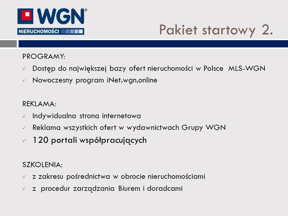 Pakiet startowy 2. PROGRAMY: Dostęp do największej bazy ofert nieruchomości w Polsce MLS-WGN Nowoczesny program iNet.wgn.online REKLAMA: Indywidualna
