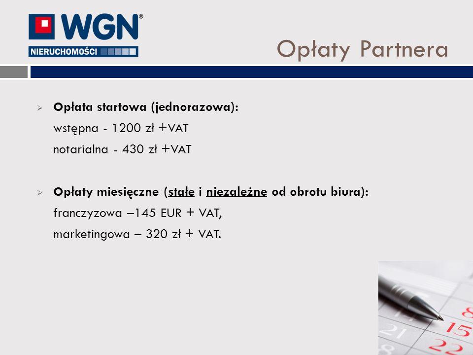 Opłaty Partnera Opłata startowa (jednorazowa): wstępna - 1200 zł +VAT notarialna - 430 zł +VAT Opłaty miesięczne (stałe i niezależne od obrotu biura):