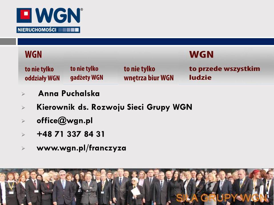 Anna Puchalska Kierownik ds. Rozwoju Sieci Grupy WGN office@wgn.pl +48 71 337 84 31 www.wgn.pl/franczyza