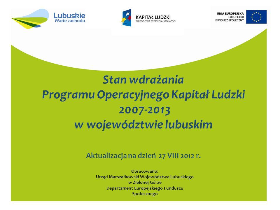 Stan wdrażania Programu Operacyjnego Kapitał Ludzki 2007-2013 w województwie lubuskim Aktualizacja na dzień 27 VIII 2012 r.