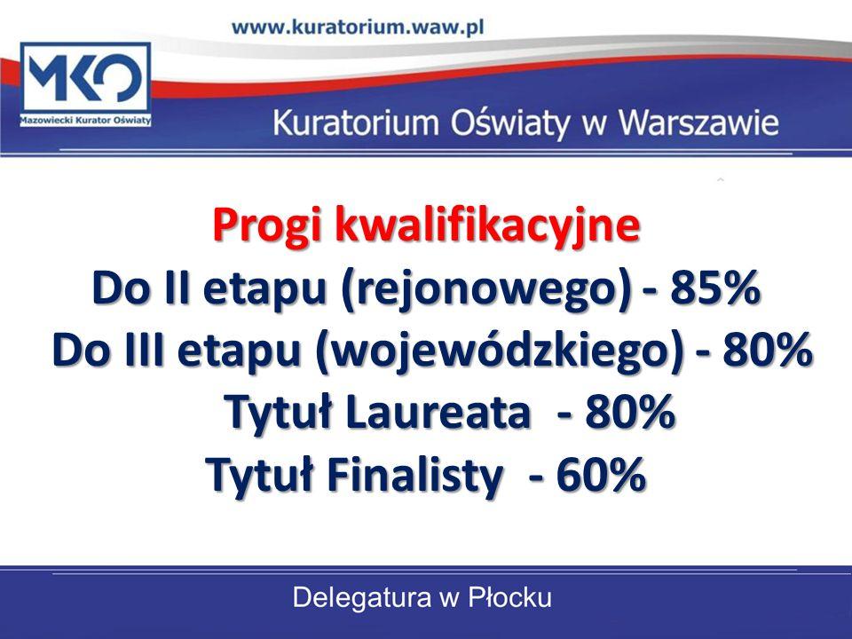 Progi kwalifikacyjne Do II etapu (rejonowego) - 85% Do III etapu (wojewódzkiego) - 80% Do III etapu (wojewódzkiego) - 80% Tytuł Laureata - 80% Tytuł Laureata - 80% Tytuł Finalisty - 60%