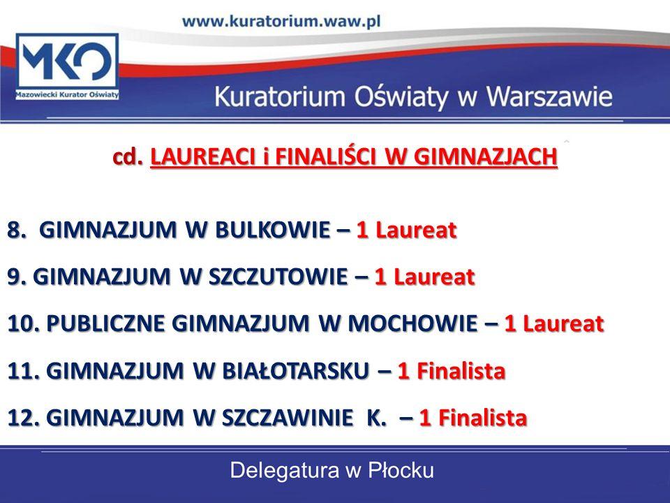 cd. LAUREACI i FINALIŚCI W GIMNAZJACH 8. GIMNAZJUM W BULKOWIE – 1 Laureat 9.