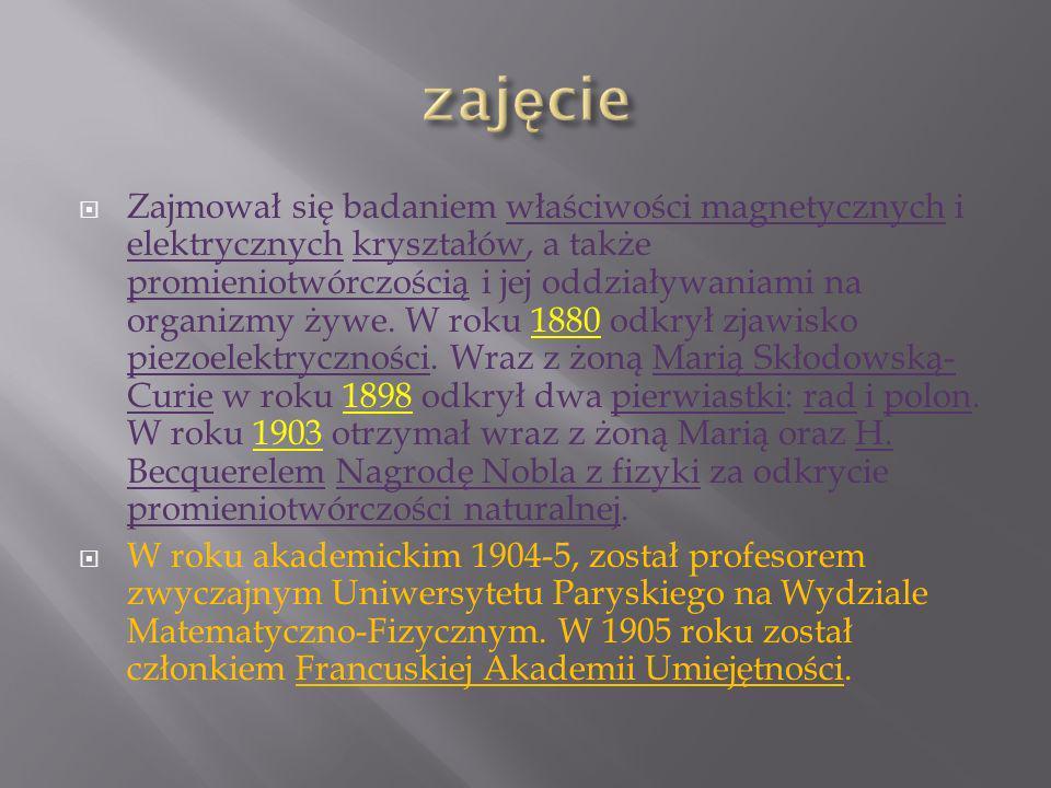 Zajmował się badaniem właściwości magnetycznych i elektrycznych kryształów, a także promieniotwórczością i jej oddziaływaniami na organizmy żywe.