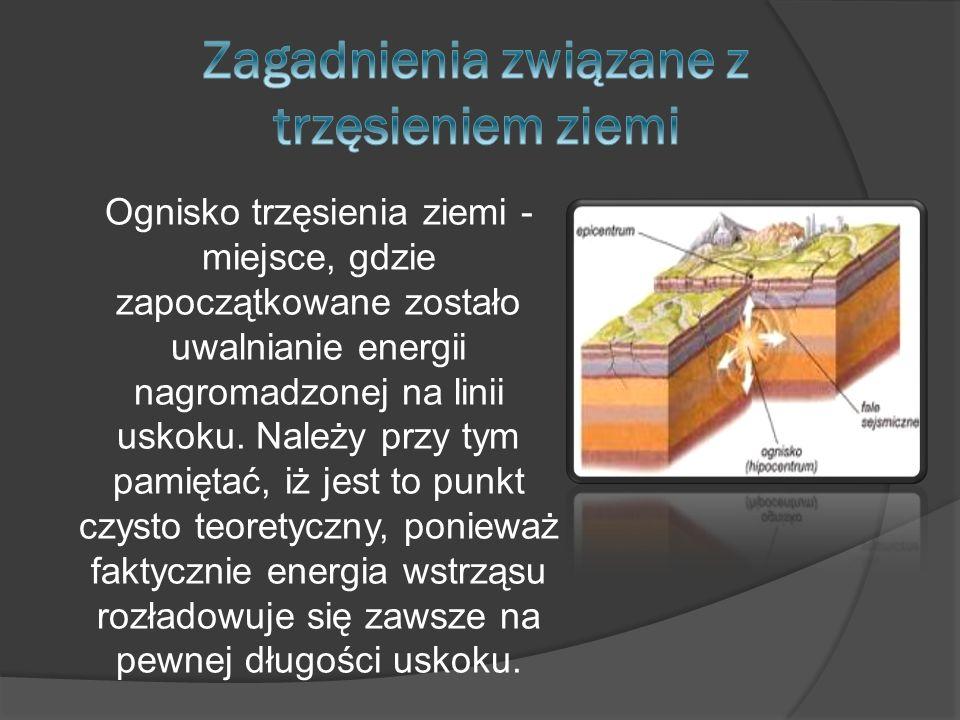 Ognisko trzęsienia ziemi - miejsce, gdzie zapoczątkowane zostało uwalnianie energii nagromadzonej na linii uskoku. Należy przy tym pamiętać, iż jest t