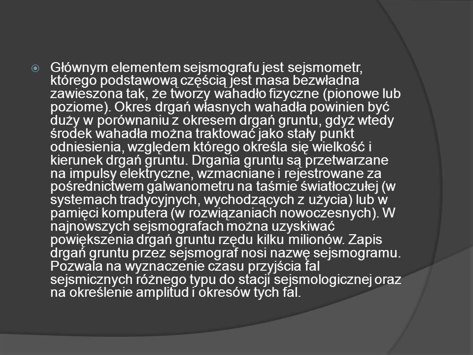 Głównym elementem sejsmografu jest sejsmometr, którego podstawową częścią jest masa bezwładna zawieszona tak, że tworzy wahadło fizyczne (pionowe lub
