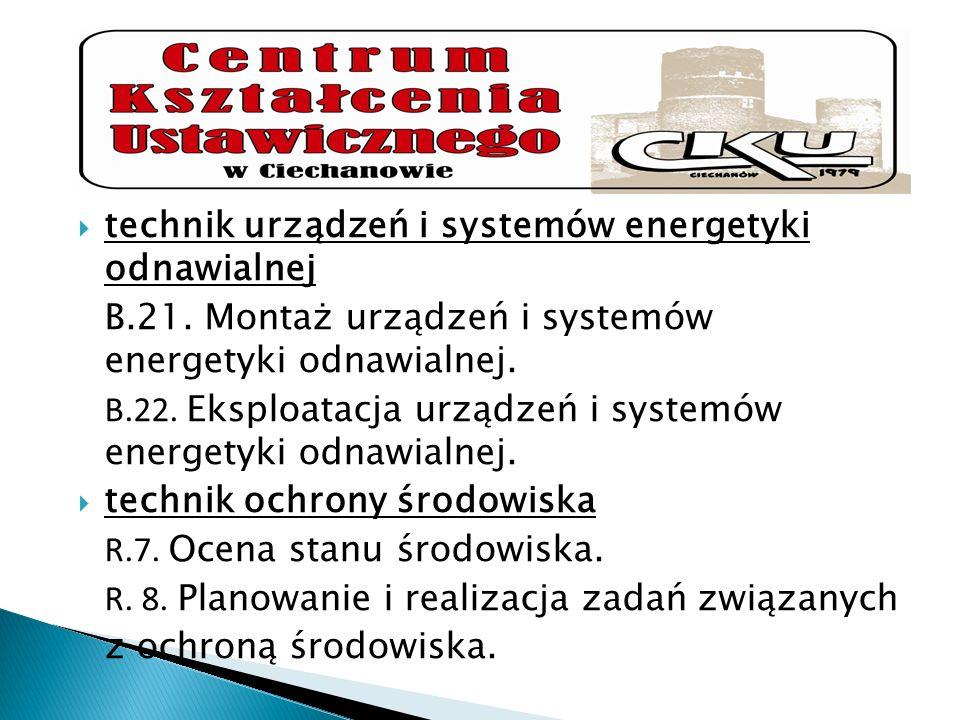 technik urządzeń i systemów energetyki odnawialnej B.21. Montaż urządzeń i systemów energetyki odnawialnej. B.22. Eksploatacja urządzeń i systemów ene
