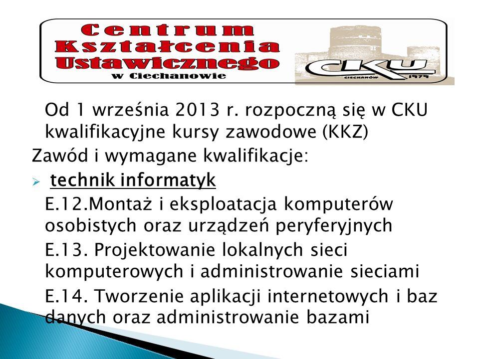 Od 1 września 2013 r. rozpoczną się w CKU kwalifikacyjne kursy zawodowe (KKZ) Zawód i wymagane kwalifikacje: technik informatyk E.12.Montaż i eksploat