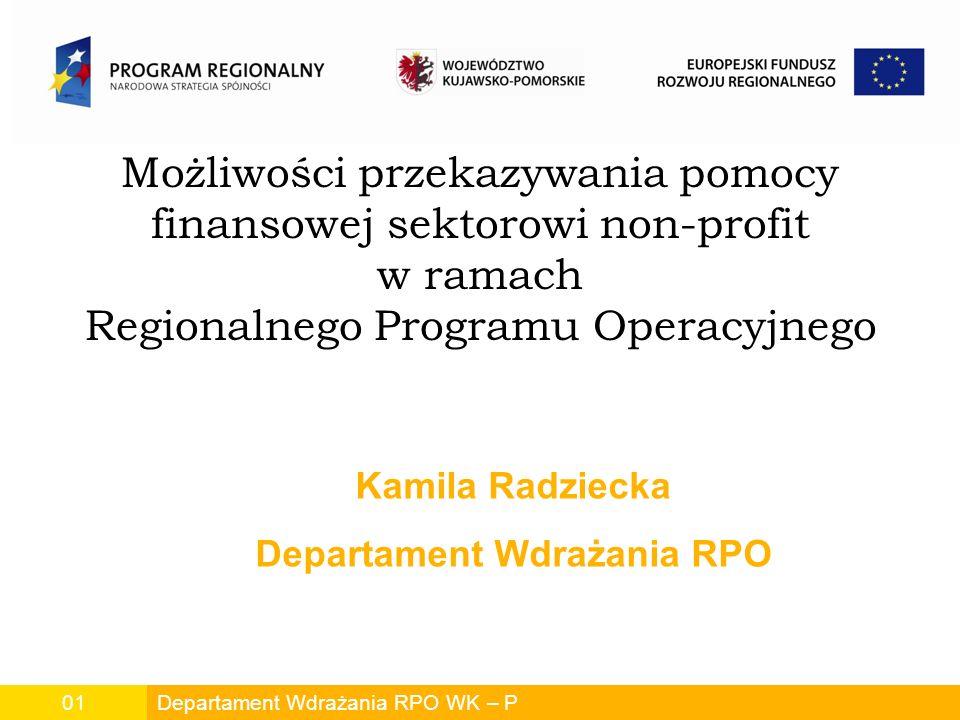 Możliwości przekazywania pomocy finansowej sektorowi non-profit w ramach Regionalnego Programu Operacyjnego Departament Wdrażania RPO WK – P01 Kamila Radziecka Departament Wdrażania RPO