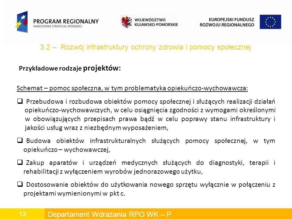 Departament Wdrażania RPO WK – P 13 Schemat – pomoc społeczna, w tym problematyka opiekuńczo-wychowawcza: Przebudowa i rozbudowa obiektów pomocy społecznej i służących realizacji działań opiekuńczo-wychowawczych, w celu osiągnięcia zgodności z wymogami określonymi w obowiązujących przepisach prawa bądź w celu poprawy stanu infrastruktury i jakości usług wraz z niezbędnym wyposażeniem, Budowa obiektów infrastrukturalnych służących pomocy społecznej, w tym opiekuńczo – wychowawczej, Zakup aparatów i urządzeń medycznych służących do diagnostyki, terapii i rehabilitacji z wyłączeniem wyrobów jednorazowego użytku, Dostosowanie obiektów do użytkowania nowego sprzętu wyłącznie w połączeniu z projektami wymienionymi w pkt c.