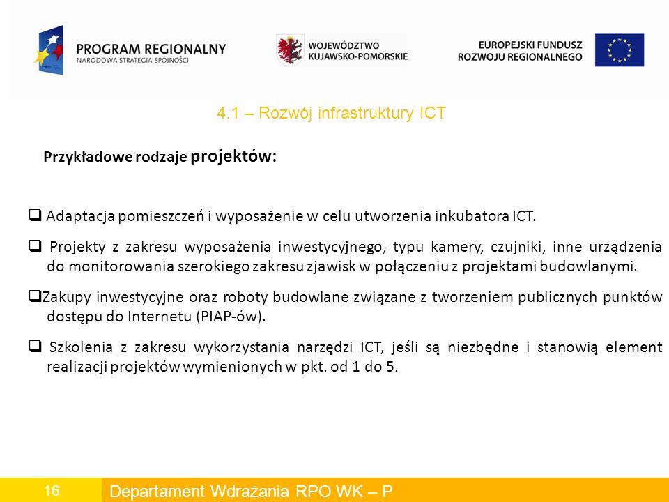 Departament Wdrażania RPO WK – P 16 Przykładowe rodzaje projektów: 4.1 – Rozwój infrastruktury ICT Adaptacja pomieszczeń i wyposażenie w celu utworzenia inkubatora ICT.