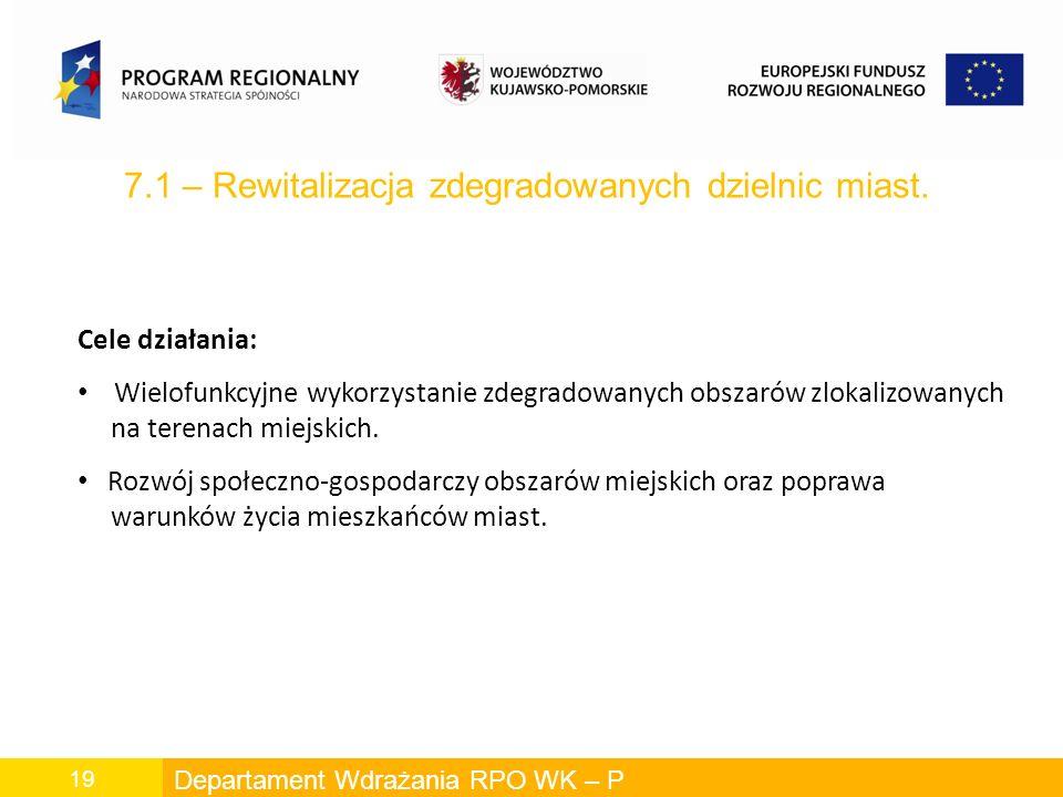 Departament Wdrażania RPO WK – P 19 7.1 – Rewitalizacja zdegradowanych dzielnic miast.