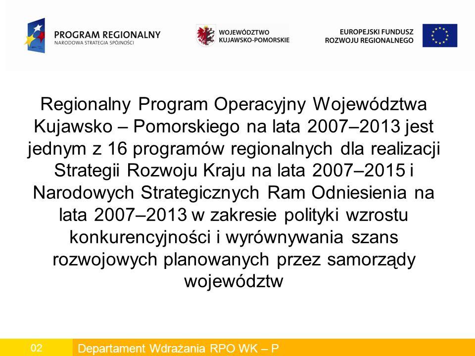 Departament Wdrażania RPO WK – P 02 Regionalny Program Operacyjny Województwa Kujawsko – Pomorskiego na lata 2007–2013 jest jednym z 16 programów regionalnych dla realizacji Strategii Rozwoju Kraju na lata 2007–2015 i Narodowych Strategicznych Ram Odniesienia na lata 2007–2013 w zakresie polityki wzrostu konkurencyjności i wyrównywania szans rozwojowych planowanych przez samorządy województw