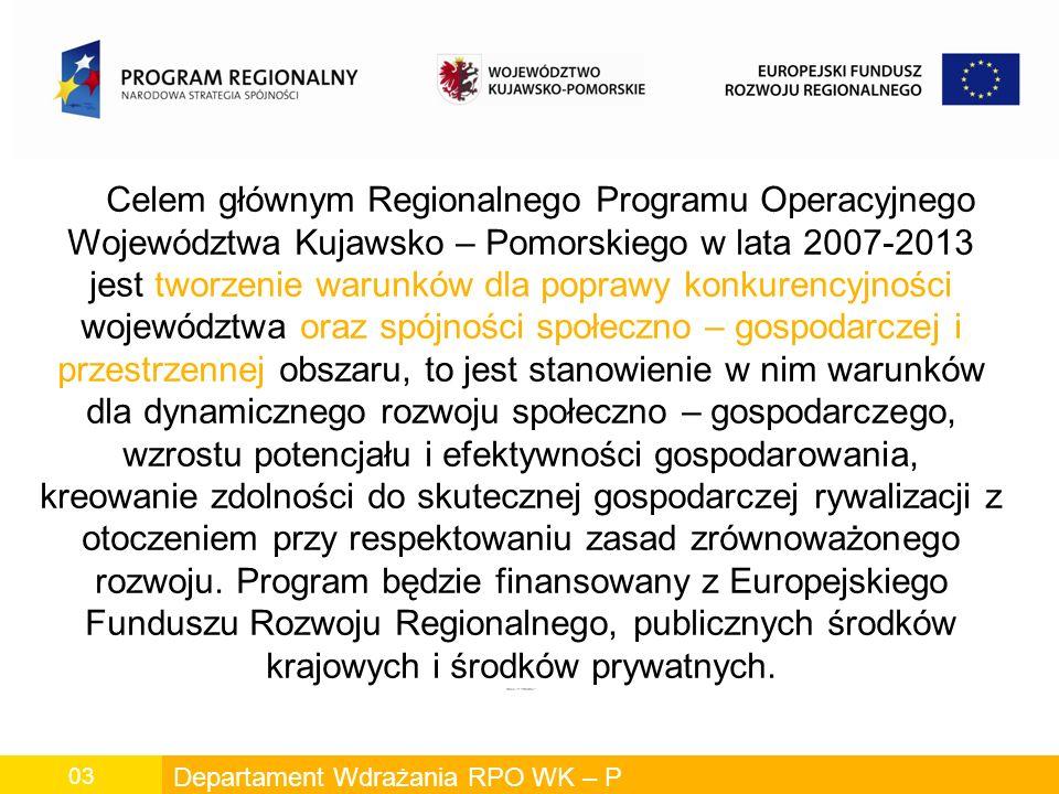 Departament Wdrażania RPO WK – P 03 Celem głównym Regionalnego Programu Operacyjnego Województwa Kujawsko – Pomorskiego w lata 2007-2013 jest tworzenie warunków dla poprawy konkurencyjności województwa oraz spójności społeczno – gospodarczej i przestrzennej obszaru, to jest stanowienie w nim warunków dla dynamicznego rozwoju społeczno – gospodarczego, wzrostu potencjału i efektywności gospodarowania, kreowanie zdolności do skutecznej gospodarczej rywalizacji z otoczeniem przy respektowaniu zasad zrównoważonego rozwoju.