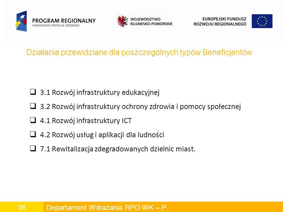 Departament Wdrażania RPO WK – P 08 Działania przewidziane dla poszczególnych typów Beneficjentów 3.1 Rozwój infrastruktury edukacyjnej 3.2 Rozwój infrastruktury ochrony zdrowia i pomocy społecznej 4.1 Rozwój infrastruktury ICT 4.2 Rozwój usług i aplikacji dla ludności 7.1 Rewitalizacja zdegradowanych dzielnic miast.