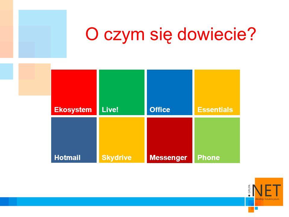 Windows Phone 7 Integracja kontaktów Integracja komunikatora Integracja galerii Dostęp do dokumentów Skydrive Grzegorz Węgrzyk kontakt:g_wegrzyk@hotmail.com