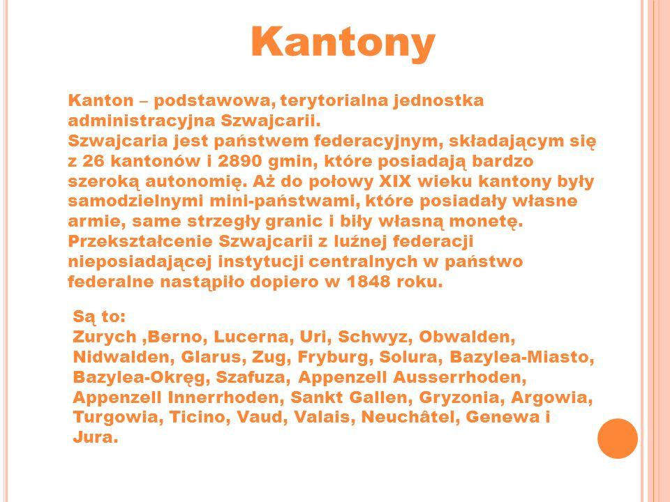 Kantony Kanton – podstawowa, terytorialna jednostka administracyjna Szwajcarii. Szwajcaria jest państwem federacyjnym, składającym się z 26 kantonów i