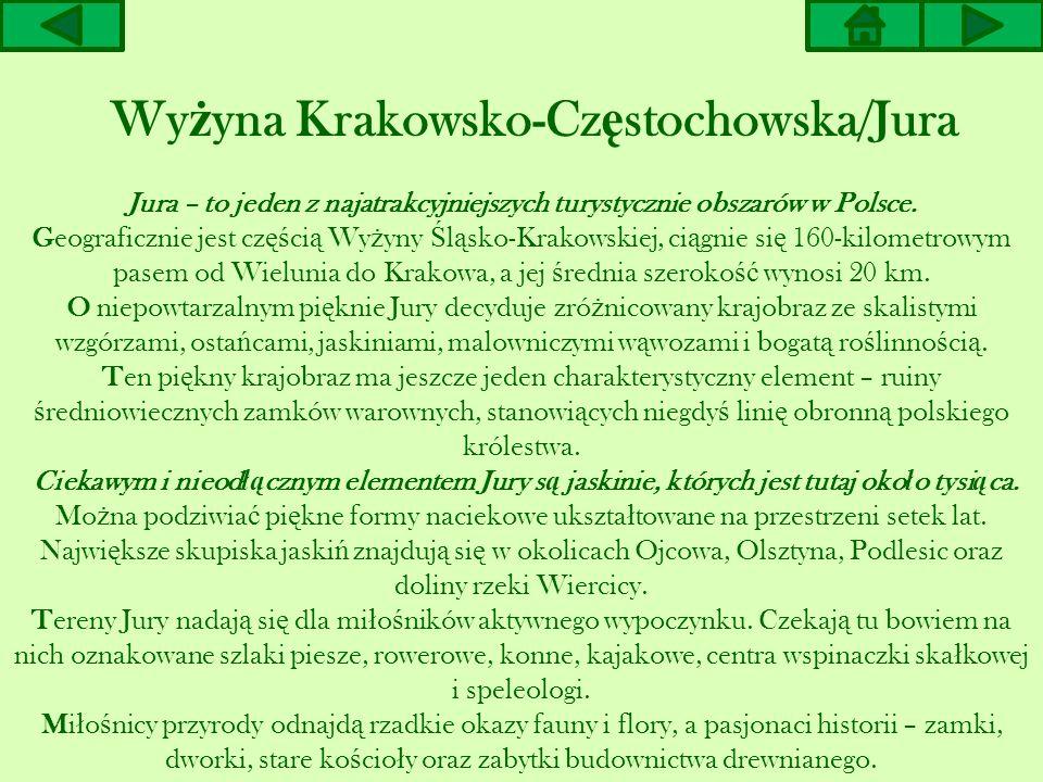 Jura – to jeden z najatrakcyjniejszych turystycznie obszarów w Polsce. Geograficznie jest cz ęś ci ą Wy ż yny Ś l ą sko-Krakowskiej, ci ą gnie si ę 16