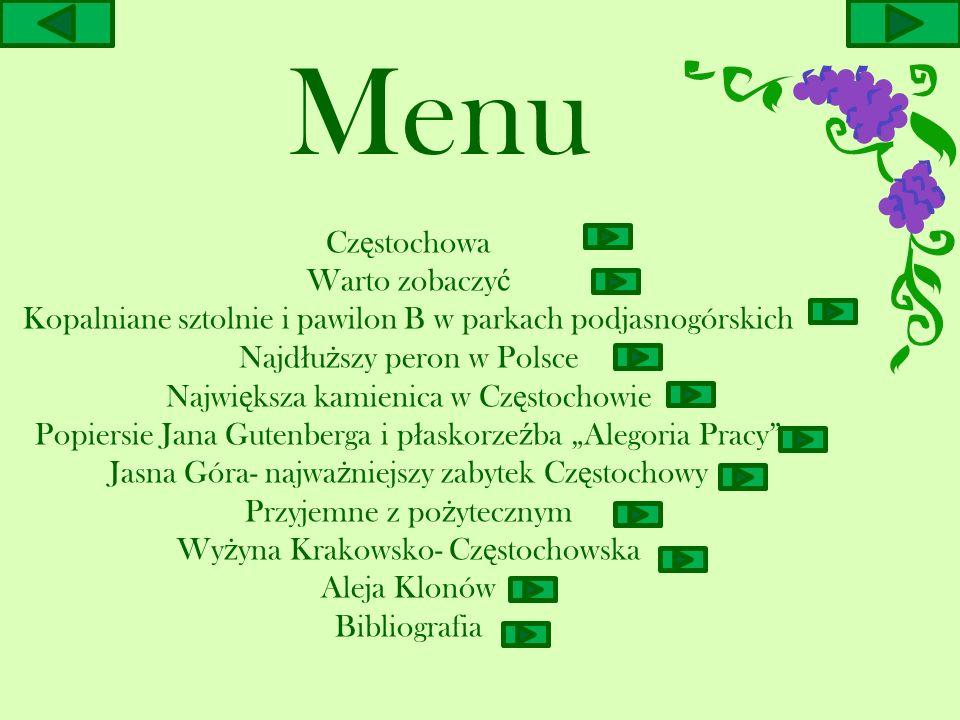 Menu Cz ę stochowa Warto zobaczy ć Kopalniane sztolnie i pawilon B w parkach podjasnogórskich Najd ł u ż szy peron w Polsce Najwi ę ksza kamienica w C