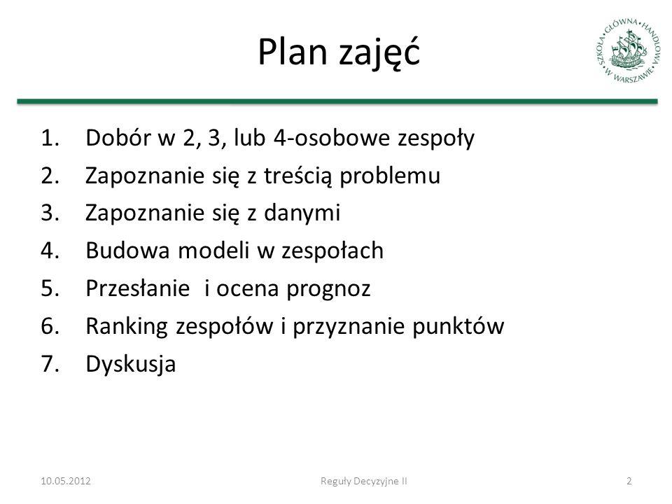 10.05.2012Reguły Decyzyjne II2 Plan zajęć 1.Dobór w 2, 3, lub 4-osobowe zespoły 2.Zapoznanie się z treścią problemu 3.Zapoznanie się z danymi 4.Budowa