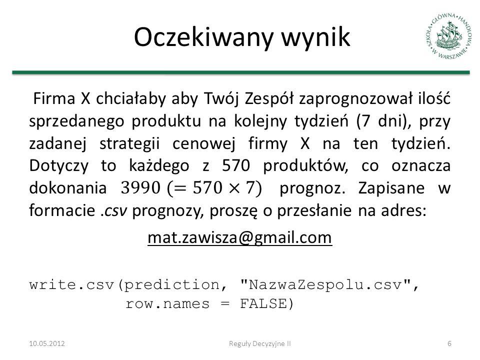 Oczekiwany wynik 10.05.2012Reguły Decyzyjne II6