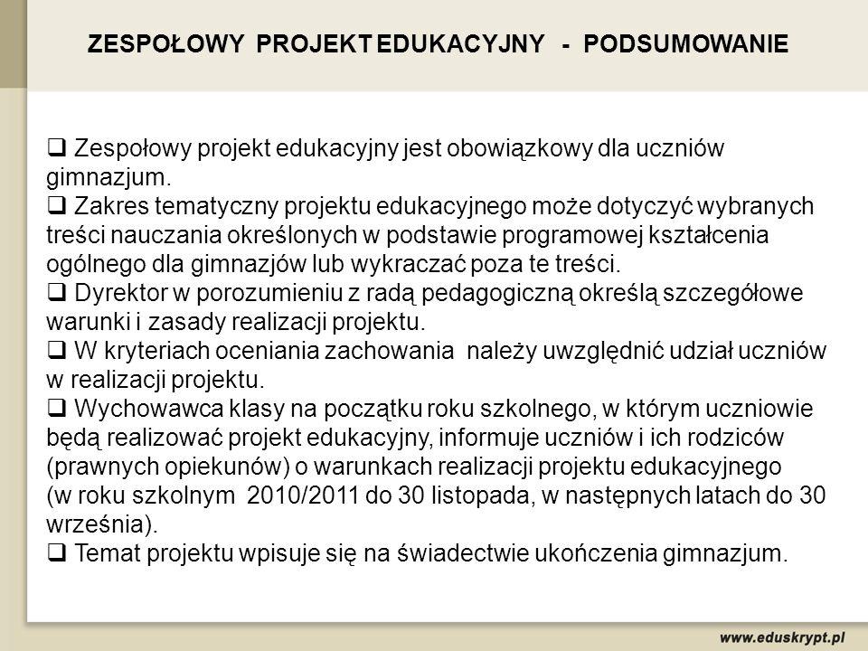 ZESPOŁOWY PROJEKT EDUKACYJNY - PODSUMOWANIE Zespołowy projekt edukacyjny jest obowiązkowy dla uczniów gimnazjum. Zakres tematyczny projektu edukacyjne