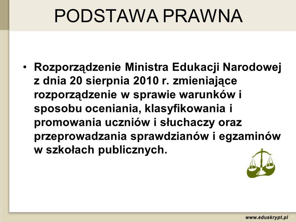 PODSTAWA PRAWNA Rozporządzenie Ministra Edukacji Narodowej z dnia 20 sierpnia 2010 r. zmieniające rozporządzenie w sprawie warunków i sposobu oceniani