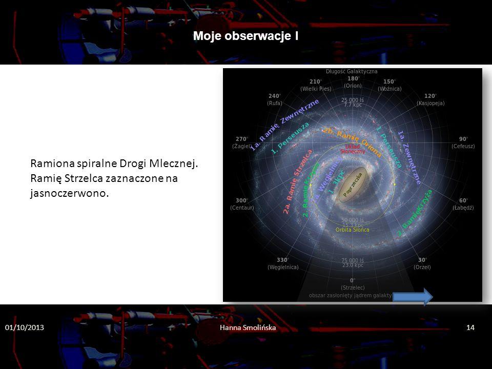 2013-10-01Hanna Smolinska14 Moje obserwacje I 01/10/2013 Hanna Smolińska 14 Ramiona spiralne Drogi Mlecznej. Ramię Strzelca zaznaczone na jasnoczerwon