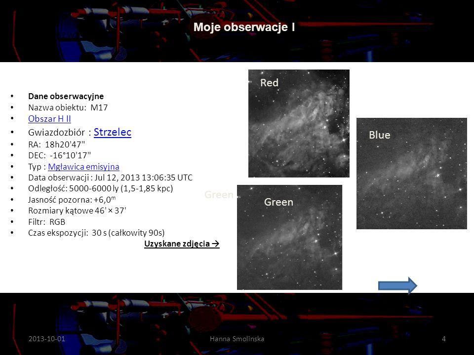 Opracowane zdjęcie M17 Poniżej informacja z wikipedia.org: Gaz w mgławicy jest pobudzany do świecenia przez gorącą gwiazdę o jasności 11,0 m,jasności 11,0 m typu widmowego A05etypu widmowego A05e.
