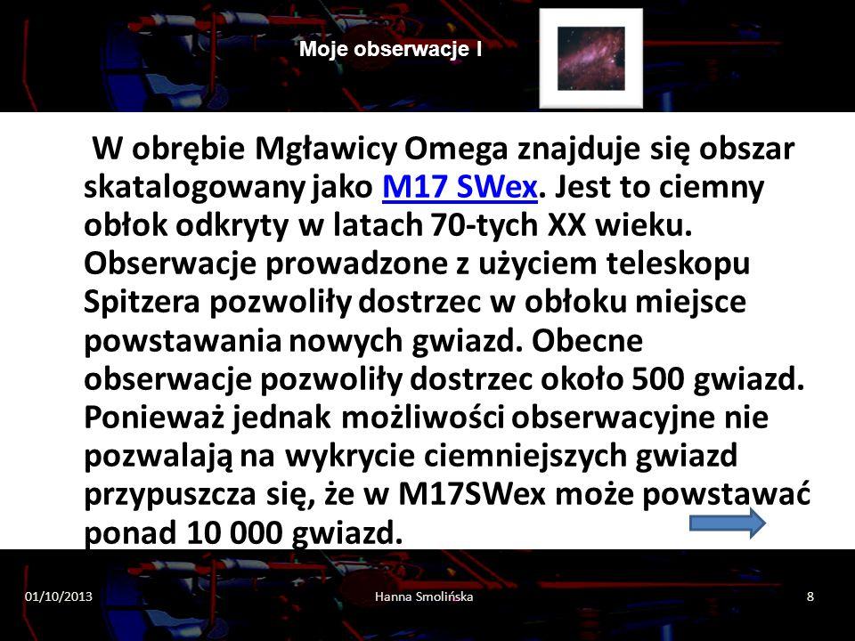 Moje obserwacje I 2013-10-0119Hanna Smolinska Moje obserwacje I przejdź dalej I NA ZAKOŃCZENIE ZADANIE DLA UCZNIA Proszę opisz zaznaczone gwiazdy Dziękuję HS