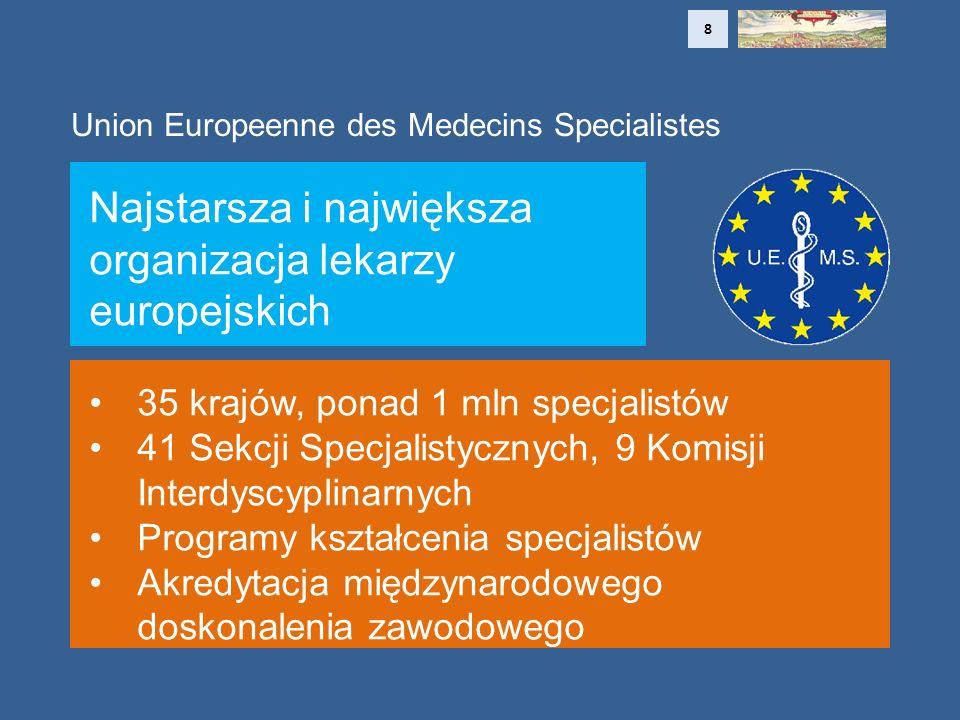 Union Europeenne des Medecins Specialistes Najstarsza i największa organizacja lekarzy europejskich 35 krajów, ponad 1 mln specjalistów 41 Sekcji Specjalistycznych, 9 Komisji Interdyscyplinarnych Programy kształcenia specjalistów Akredytacja międzynarodowego doskonalenia zawodowego 8