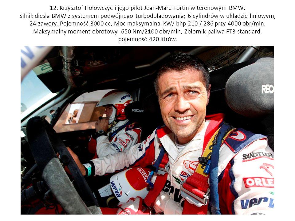 12. Krzysztof Hołowczyc i jego pilot Jean-Marc Fortin w terenowym BMW: Silnik diesla BMW z systemem podwójnego turbodoładowania; 6 cylindrów w układzi
