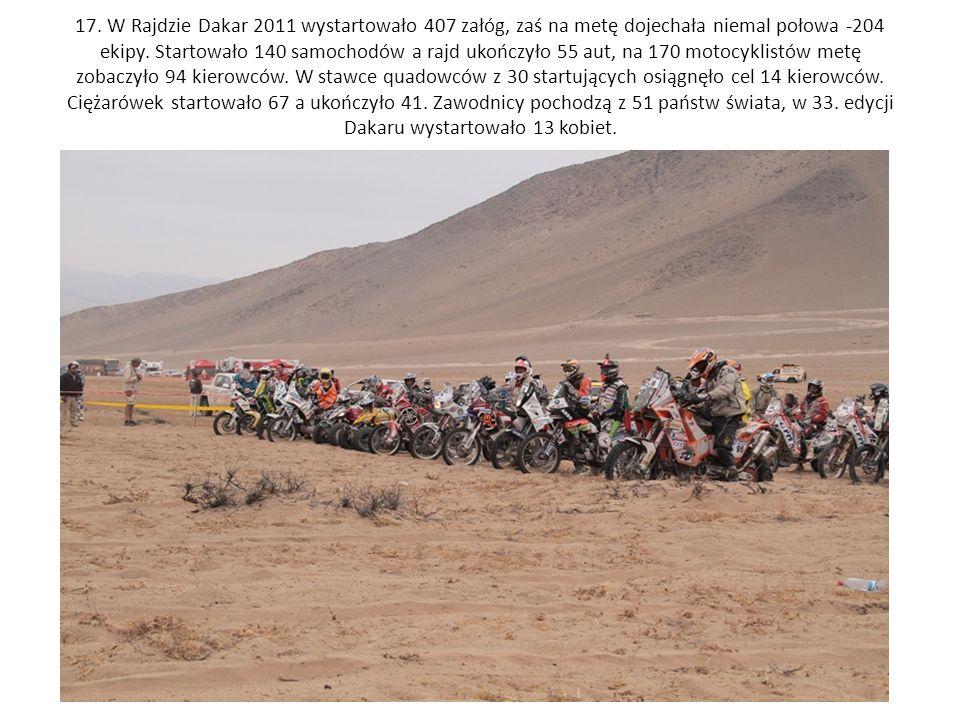 17. W Rajdzie Dakar 2011 wystartowało 407 załóg, zaś na metę dojechała niemal połowa -204 ekipy. Startowało 140 samochodów a rajd ukończyło 55 aut, na