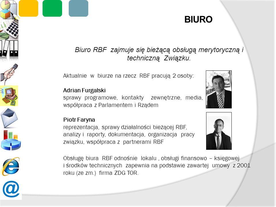 Biuro RBF zajmuje się bieżącą obsługą merytoryczną i techniczną Związku. Aktualnie w biurze na rzecz RBF pracują 2 osoby: Adrian Furgalski sprawy prog